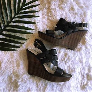 Sole Society | Black Sandal Wedges Heel 7.5